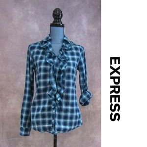 Express Blue Gray Teal Plaid Ruffled Shirt Size S